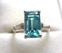 4 Carat Blue Zircon Platinum Ring