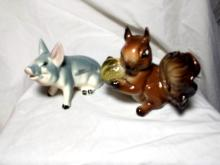 Simmons Pig and Squirrel Figurines