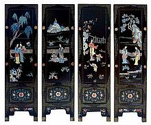 A SET OF FOUR CHINESE SCREEN PANELS