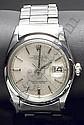 Reloj suizo ROLEX, mod. 'Oyster Perpetual Date Just'. Movimiento automatico.  En caja de acero y brazalete 'Oyster'. Calendario. Esfera metalizada