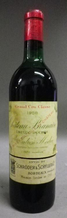 1 Bouteille BRANAIRE DUCRU Etiquette jaunie, niveau mi épaule +.  Label yellow, level upper mid shoulder.   1958
