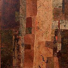 Max PAPART (1911-1994)    Composition, Quixada    Technique mixte et collage sur isorel, annoté et n°III-LXIV au dos   100 x 100 cm