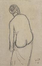 Zoum WALTER (1902-1974)    Nu féminin de dos, 1928   Fusain sur toile, daté et signé du monogramme en bas à droite   54 x 35 cm   On y joint un dessin du même artiste
