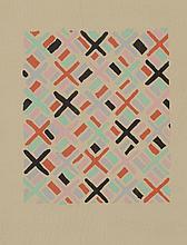 Sonia DELAUNAY (1885-1979)    Projet de tissus       Gouache sur papier   26,5 x 21 cm à vue   Reproduit dans Composition couleur et idées, planche n°34, éditions Charles Moreau, 1930