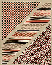 Sonia DELAUNAY (1885-1979)    Projet de tissus      Sans titre   Pochoir à la gouache   27 x 21 cm à vue