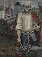 D DENIS ou DENY    Le Saint patron de la métallurgie, 1960   Huile sur panneau, signé et daté en bas à droite   127 x 95 cm