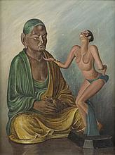N.KLOGOUKOFF (XX)   Joséphine Baker devant Bouddha   Huile sur panneau, signé en bas à droite   44 x 34 cm   Petits manques