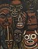 Estevao SOARES (né en 1914)   Masque africains, Oléo 1960   Huile sur carton, signé et daté en bas à gauche   69 x 53 cm