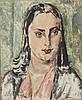 Henry de WAROQUIER (1880-1970)    Portrait de femme   Gouache sur papier marouflé sur toile, signée en bas à droite, porte le n°2217 au dos   44,5 x 36,6 cm   Expositions:   Stockholm, 1939   Salon des Indépendants, 1984