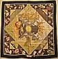 SALVATORE FERRAGAMO Foulard en soie noir et vert à décor d'animaux - Dimensions : 85 x 88 cm - Size : 33,4 x 34,6 in. (bon état/ good condition)