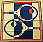 HENRY A LA PENSEE Paris par James Gibbéz Foulard en soie bleu, rouge et blanc à décor de raquettes de tennis - Dimensions : 77 x 77 cm (bon état)HENRY A LA PENSEE Paris par James Gibbéz Blue, red and white silk scarf decorated with tennis rackets -