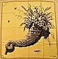 JEANNE LANVIN Castillo Foulard en soie vert anis à décor de corne d'abondance - Dimensions : 77 x 79 cm - Size : 30,3 x 31,1 in. (bon éta/ good condition)