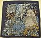 SALVATORE FERRAGAMO Foulard en crêpe de soie bleu marine à décor de fleurs et d'animaux - Dimensions : 85 x 85 cm- Size : 33,4 x 33,4 in. (bon état/good condition)