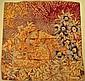 SALVATORE FERRAGAMO Foulard en soie marron et beige à décor de fleurs et d'animaux - Dimensions : 85 x 85 cm -  Size : 33,4 x 33,4 in. (bon état/good condition)