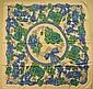 LANVIN Foulard en soie bleu à décor floral - Dimensions : 87 x 89 cm -  Size : 34,2 x 35 in. (fil tiré/pull)