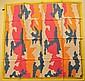 CASTELBAJAC Foulard en soie blanc et jaune, bordures à mesures et formes orange, rose, bleues et blanches - Dimensions : 88 x 88 cm - Size : 34,6 x 34,6 in. (tâches, fils tirés/stains, pulls)