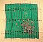 REVILLON Paris Foulard en soie et crêpe de soie vert à bordures blanches, à décor de bijoux et pierres précieuses - Dimensions : 86 x 87 cm - Size : 33,8 x 34,2 in. (petit fil tiré/small pull)
