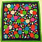 YVES SAINT LAURENT Foulard en soie à décor de ronds multicolores et bordures vertes - Dimensions : 67 x 70 cm -  Size : 26,3 x 27,5 in. (fil tiré/pull)