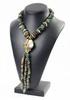 YVES SAINT LAURENT Rive Gauche Prototype Collier à pendentif central en pierres dures vertes et métal doré, motifs