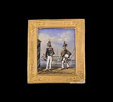 Miniature sur porcelaine figurant deux soldats russes dans un cadre doré - Dimensions : 4,5x5,2cm ( petits chocs)  Porcelain miniature decorated with two russian soldiers - Dim 1,8 x 2in.(little damage)