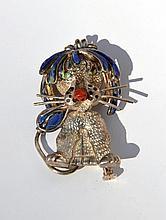 Broche Lion à crinière articulée en argent ornée de lapis lazuli et jaspe sanguin -  Diamètre : 9cm -  Poids brut :20,6g