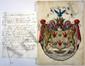 Trophime-Gérard de LALLY-TOLENDAL. ARMOIRIES PEINTES sur vélin, avec NOTE autographe, [1825] ; 29 x 21,5 cm et 1 page in-4.