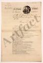 QUIBERON. Circulaire imprimée avec ajout manuscrit, Paris 12 août 1824, au marquis de LALLY-TOLENDAL ; 3 pages in-fol. lithographiées, avec VIGNETTE et en-tête Le Comité Central du Monument de Quiberon.