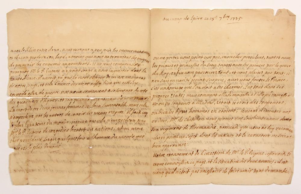 François, comte de BULKELEY (1686-1756) lieutenant général au service de France. L.A., au camp de Spire 18 septembre 1735, à MONTESQUIEU ; 4 pages in-4 (fente au pli réparée et petites effrangeures). [CM 434]