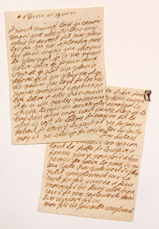 Marie-Ursule de Klinglin, comtesse de LUTZELBOURG (1683-1765) dame alsacienne, correspondante de Voltaire. L.A., Illkirch 13 juin [1736], au Président de MONTESQUIEU à Paris ; 5 pages in-8, adresse avec cachet cire brune. [CM 446]