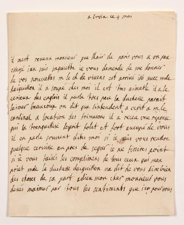 Jeanne d'Essenault, comtesse de SABOURIN D'ISSAN, femme d'un conseiller au Parlement de Bordeaux. L.A., Bordeaux 4 mai [1737], au Président de MONTESQUIEU à Paris ; 1 page in-4, adresse avec cachet cire rouge aux armes. [CM 467]