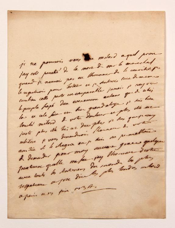 Charles de Secondat, baron de La Brède et de MONTESQUIEU. L.A. (minute), Paris 17 juin 1734, [au comte François de BULKELEY] ; 1 page in-4. [CM 394]