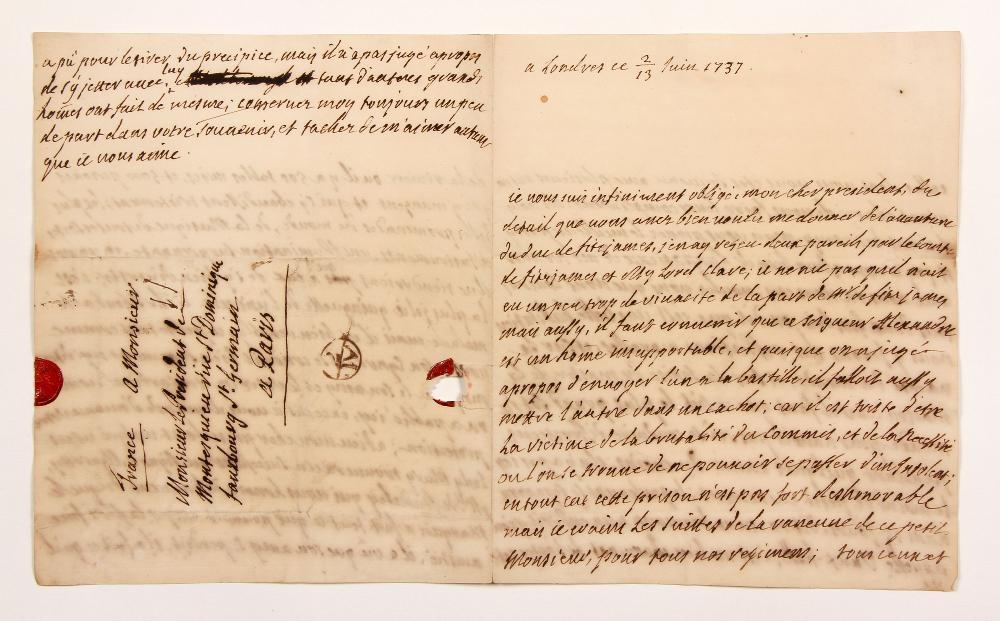 François, comte de BULKELEY (1686-1756) lieutenant général au service de France. L.A., Londres 13 juin 1737, au Président de MONTESQUIEU à Paris ; 3 pages et quart in-4, adresse avec restes de cachet cire rouge aux armes. [CM 471]