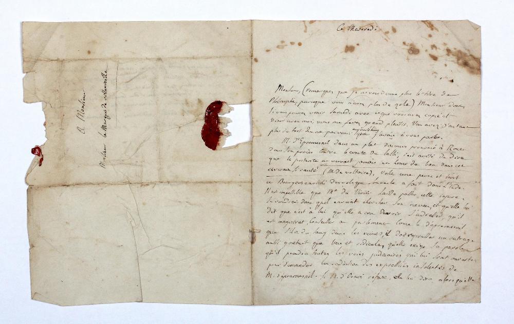 Jean-Antoine-Nicolas Caritat, marquis de CONDORCET (1741-1794). L.A.S., ce mercredi [1780], au marquis de VILLEVIEILLE ; 2 pages et demie petit in-4, adresse avec fragment de sceau (un peu froissée, qqs lég. piq., petit manque par bris de cachet).
