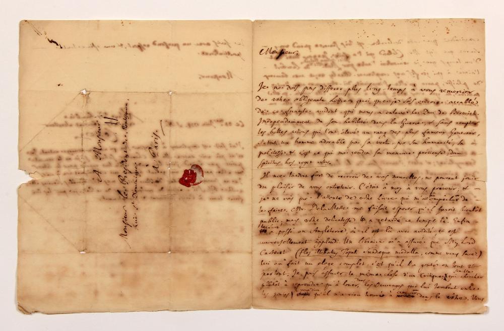 Pierre COSTE (1668-1747) protestant français réfugié à Londres, traducteur de Locke et Newton, et éditeur de Montaigne. L.A.S., [Londres] 24 juin 1734, au Président de MONTESQUIEU, à Paris ; 2 pages et demie in-4, adresse avec cachet de cire au buste