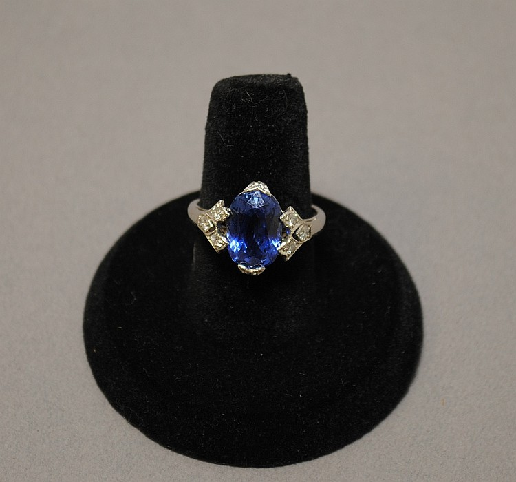 Rare Art Deco Natural Sapphire and Diamond Ring