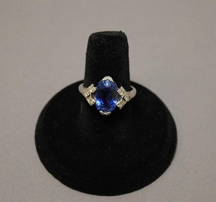 Rare Art Deco Natural Sapphire and Diamond Ring