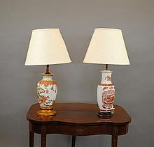 Two Oriental Style Porcelain Vasiform Table Lamps,