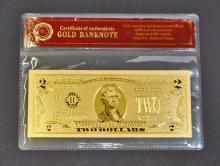 99.9% PURE 24K GOLD $2 DOLLAR BILL COA GOLD BANK NOTE
