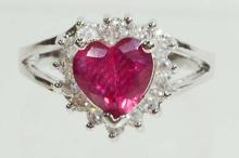 WHITE GOLD OVER STERLING SILVER LADIES RUBY RING - SIZE 5