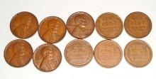 LOT OF 10 WHEAT CENTS / WHEAT PENNIES