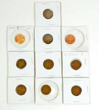 LOT OF 10 .1 CENT WHEAT BACK PENNIES