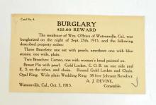 1915 ANTIQUE BURGLARY WARRANT POST CARD VENTURA CA - $25 REWARD