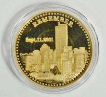 STATUE OF LIBERTY REMEMBER 9-11 COMMEMORATIVE GOLD CLAD COIN