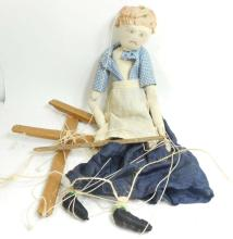 VINTAGE CLOTH STUFFED MARIONETTE DOLL - APPROX. 19
