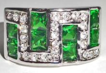 14K WHITE GOLD FILLED EMERALD RING - SIZE 7