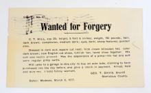 1917 VINTAGE FORGERY POST CARD WARRANT - MODESTO CA