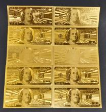 LOT OF 10 99.9% $100 U.S. GOLD BANK NOTES