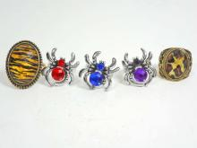 LOT OF 5 ESTATE COSTUME  JEWELERY RINGS