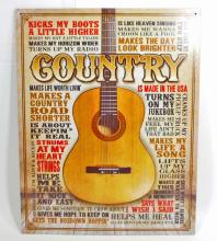 COUNTRY MUSIC METAL SIGN