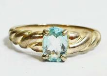 STERLING SILVER AQUAMARINE RING - SIZE 8